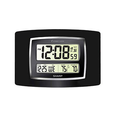 Sharp Digital Atomic Wall Clock - Black