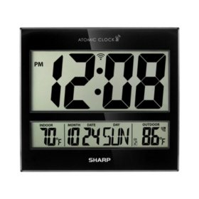 Sharp Digital Atomic Clock, Black