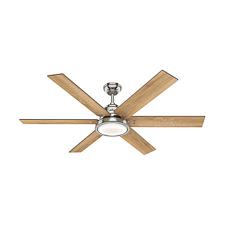 """Hunter 60"""" Warrant Indoor Ceiling Fan with LED Light and Wall Control"""