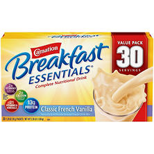 Carnation Breakfast Essentials Nutritional Drink Mix, Vanilla  or Chocolate (30 ct.)