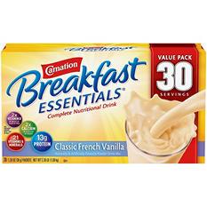Carnation Breakfast Essentials Nutritional Drink Mix, Vanilla  or Chocolate (30 ct.)