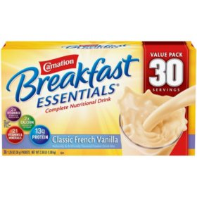 Carnation Breakfast Essentials Nutritional Drink Mix, Vanilla (30 ct.)