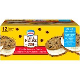 Nestle Toll House Chocolate Chip Cookie Vanilla Bean Ice Cream Sandwiches (12 ct.)