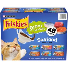 Purina Friskies Gravy Pleasers Wet Cat Food, Seafood or Poultry Variety Pack (5.5 oz., 48 ct.)