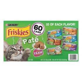 Purina Friskies Pate Wet Cat Food, Mainline Favorite Variety Pack (5.5 oz., 60 ct.)