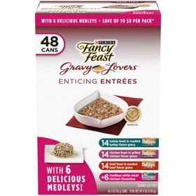 Fancy Feast Medleys Seafood Selections or Gravy Lovers Wet Cat Food (3 oz., 48 ct.)