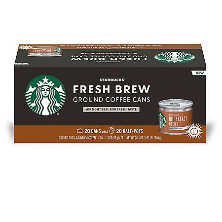 Starbucks Breakfast Blend Fresh Brew Ground Coffee Cans (20 ct.)