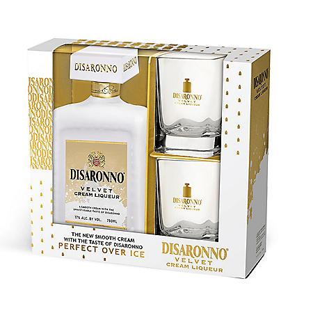 Disaronno Velvet Cream Liqueur with Two Glasses Gift Pack