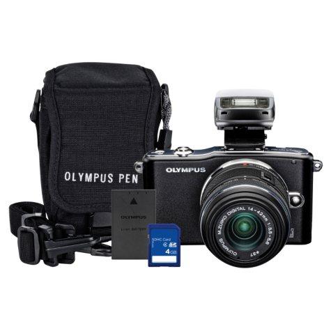 Olympus E-PM1 12.3MP Mirrorless Camera Bundle with 4GB SD Card, Olympus Li-ion Battery, and Camera Bag