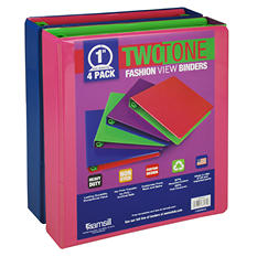 "Samsill Two-Tone View Binder, 1"", 4 Pack, Fashion Assortment"