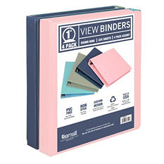 """Samsill 1"""" View Binder 4pk (Assorted Colors)"""