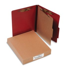 ACCO Pressboard 25-Pt 4-Section Classification Folders, Earth Red (Letter, 10ct.)