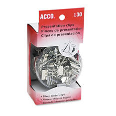 ACCO - Presentation Clips - Assorted Sizes - Steel/Nickel - 30 Pieces