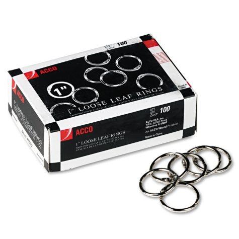 """ACCO Metal Book Rings, 1"""" Diameter - 100 Rings/Box"""
