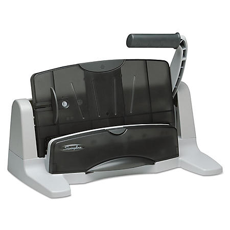 """Swingline - 40-Sheet Light Touch Two- to Seven-Hole Punch, 9/32"""" Holes -  Black/Gray"""