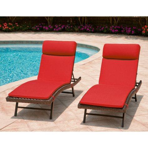Toronto Outdoor Chaise Cushion Canvas Jockey Red - 2 pk.
