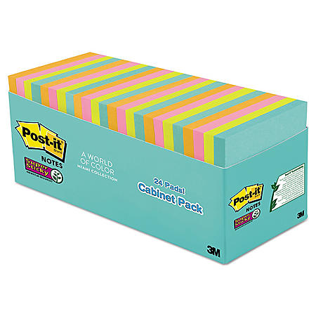 Post-it Notes Super Sticky Pads in Miami Colors, 3 x 3, 70/Pad, 24 Pads/Pack