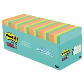 "Post-it Notes Super Sticky Pads, 3"" x 3"", Miami Color Collection, 24 Pads, 1,680 Total Sheets"