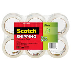 "Scotch 3500 Packaging Tape, 1.88"" x 54.6yds, 3"" Core, Clear, 6pk."
