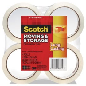 "Scotch - Moving & Storage Tape, 1.88"" x 54.6yds, 3"" Core, Clear -  4 Rolls/Pack"