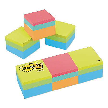 Post-it Notes Mini Cubes, 1 7/8 x 1 7/8, Orange Wav/Green Wave, 400-Sheet, 3/Pack