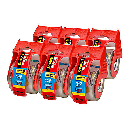 "Scotch Heavy Duty Shipping Packaging Tape Dispensers, 2"" x 27.7 yd, 6 Pack"