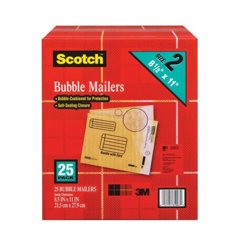 "Scotch Bubble Mailers, size 2, 8.5"" x 11"", 25pk."