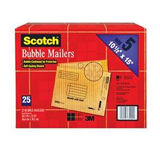 """Scotch Bubble Mailers, size 5, 10.5"""" x 15"""", 25pk."""