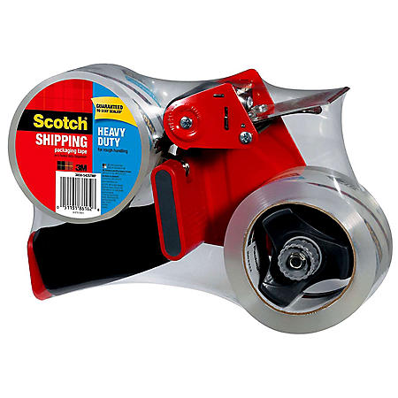 "Scotch Heavy Duty Shipping Tape Dispenser w/ 2 Rolls of Tape, 1.88"" x 60 yds"