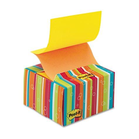 Post-it - Pop-up Notes in a Desk Grip Decorative Box - 3 x 3 - Multicolor Stripes