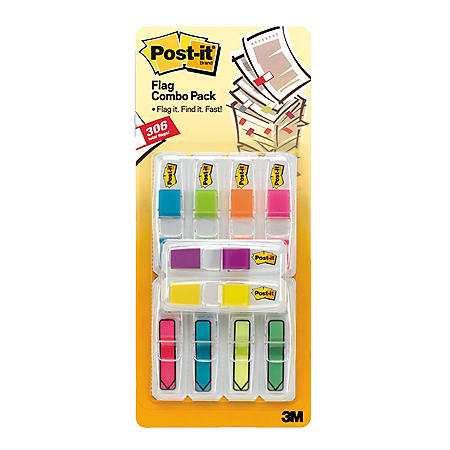 "Post-it Flags, 0.5"" x 2"", Assorted Brights, 306 Flags"