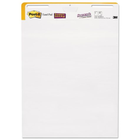 Post-it Easel Pads Self-Stick Wall Easel Unruled Pad, 25 x 30, White (2 ct/30-Sheet Pads)