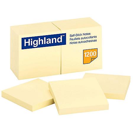Highland - Self-Stick Pads, 3 x 3, Yellow, 100 Sheets/Pad -  12 Pads/Pack