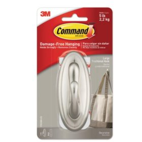Command Large Decorative Hook, Traditional Metal Coated, 1 Hook & 2 Adhesive Strips