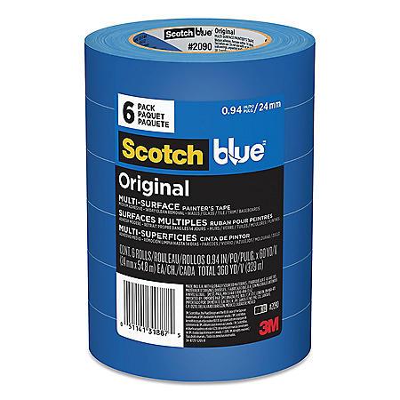 "Scotch - Painter's Masking Tape, 1"" x 60 yards, 3"" Core, Blue -  6/Pack"