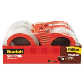 "Scotch 3750 Commercial Grade Packaging Tape with Dispenser, 3"" Core, 1.88"" x 54.6 yds, Clear, 4/Pack"