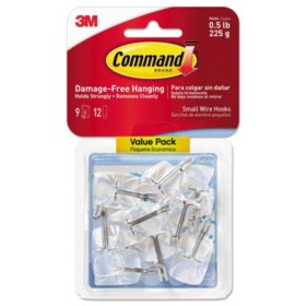 Command Hooks, Small, .5lb Capacity, Clear Plastic/ Metal Wire, 9 Hooks & 12 Adhesive Strips