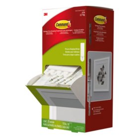 "Command Picture Hanging Strips, Cabinet Pack, Removable, 0.75"" x 2.75"", White, 4/Set, 50 Sets/Carton"