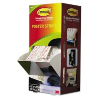 """Command Poster Strips, 5/8"""" x 1 3/4"""", White, 4/Pack, 100 Packs/Carton"""