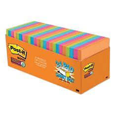 "Post-it Notes Super Sticky Pads, 3"" x 3"", Rio de Janeiro Color Collection, 24 Pads, 1,680 Total Sheets"