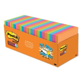 Post-it Notes Super Sticky Pads in Rio de Janeiro Colors, 3 x 3, 70-Sheet Pads, 24/Pack