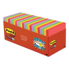 "Post-it Notes Super Sticky Pads, 3"" x 3"", Marrakesh Color Collection, 24 Pads, 1,680 Total Sheets"