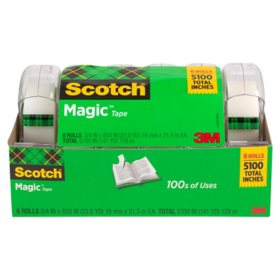 "Scotch Magic Tape w/ Refillable Dispenser,  ¾"" x 850"", 6 Pack"
