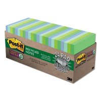 Post-it Notes Super Sticky Recycled Notes in Bora Bora Colors, 3 x 3, 70-Sheet, 24/Pack