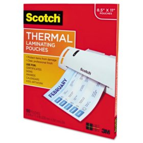 Scotch - Letter size thermal laminating pouches, 3 mil, 11 1/2 x 9 -  100 per pack