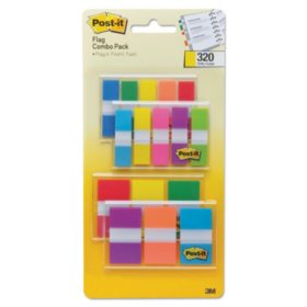 "Post-it Flags Page Markers in Portable Dispenser, .5"" x 1.75""; 1"" x 1.75"", Assorted Colors, 320 pk."