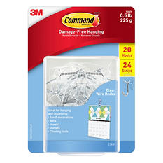 Command Small Wire Hooks, Clear Plastic, 20 Hooks & 24 Adhesive Strips