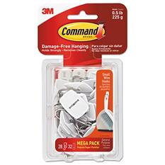 Command Hooks, Small, 0.5lb Capacity, White, 28 Hooks & 32 Strips