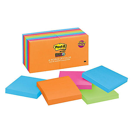 "Post-it Notes Super Sticky, 3"" x 3"", Rio De Janeiro Collection, 12 Pads, 1,080 Total Sheets"