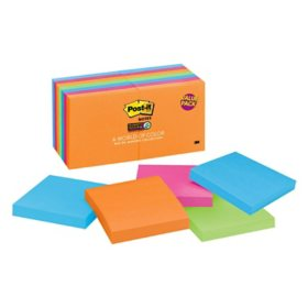 "Post-it Notes Super Sticky, 3"" x 3"", Rio De Janeiro Collection, 14 Pads, 1,260 Total Sheets"